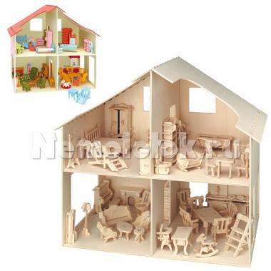 Заготовка из фанеры Кукольный домик с мебелью (880)