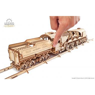 3D-пазл механический из дерева UGears - Локомотив с тендером V-Экспресс