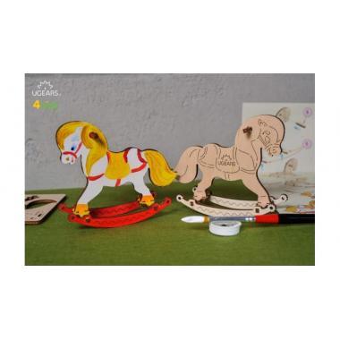 Раскраска 3D из дерева UGears 4kids - Лошадка-качелька