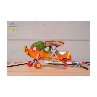 Раскраска 3D из дерева UGears 4kids - Биплан