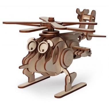 Конструктор 3D деревянный подвижный Lemmo Вертолет Серж