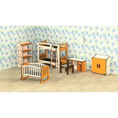 """Кукольная мебель деревянная M-WOOD """"Детская"""" 8 предметов"""