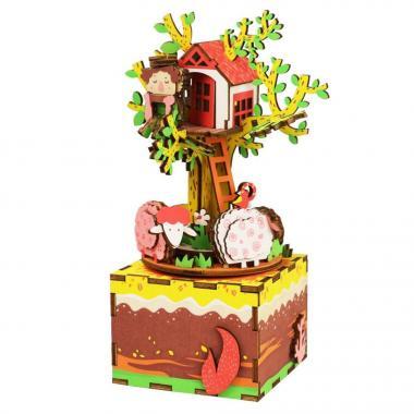 """Деревянный 3D конструктор - музыкальная шкатулка Robotime """"Дом на дереве"""""""