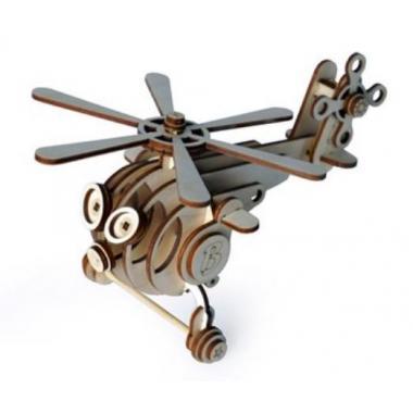 Конструктор 3D деревянный подвижный Lemmo Вертолет Витя