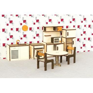 """Кукольная мебель деревянная M-WOOD """"Кухня"""" 9 предметов"""