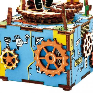 """Деревянный 3D конструктор - музыкальная шкатулка Robotime """"Робот с цветком"""""""