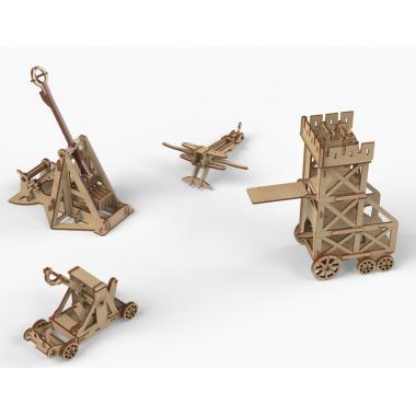 """Конструктор деревянный """"Набор рыцарей и осадных орудий для замка"""""""