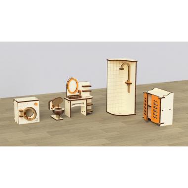 """Кукольная мебель деревянная M-WOOD """"Ванная"""" 5 предметов"""