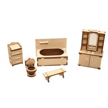 """Мебель для кукольного домика ХэппиДом """"Ванная"""" из дерева"""