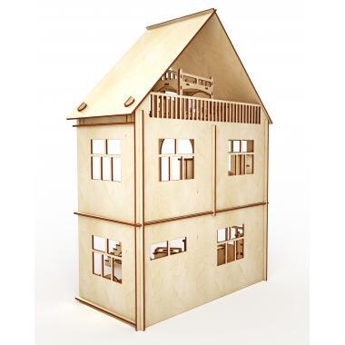 """Конструктор-кукольный домик ХэппиДом """"Коттедж с пристройкой и мебелью"""" из дерева"""