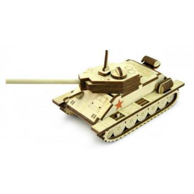 Конструктор 3D деревянный подвижный Lemmo Танчик Т-34