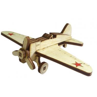 Конструктор 3D деревянный подвижный Lemmo Советский истребитель И-16