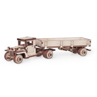 Конструктор 3D деревянный подвижный Lemmo Грузовик ЗИС с прицепом