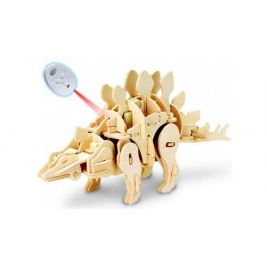 Стегозавр. Деревянный конструктор с мотором с ДУ, звуковой контроль, звуковые эффекты