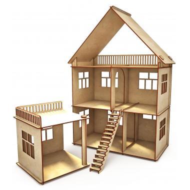 """Конструктор-кукольный домик ХэппиДом """"Коттедж с пристройкой"""" из дерева"""