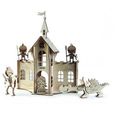 Конструктор 3D деревянный подвижный Lemmo Сказочный замок