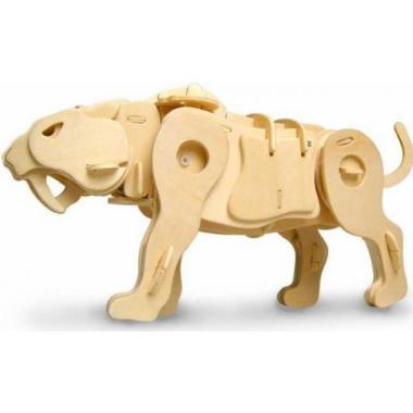 Саблезубый тигр. Деревянный конструктор с мотором, звуковой контроль для движения