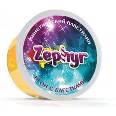 """Кинетический пластилин """"Zephyr"""" неоновый оранжевый с блестками"""