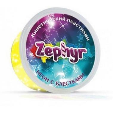 """Кинетический пластилин """"Zephyr"""" неоновый желтый с блестками"""