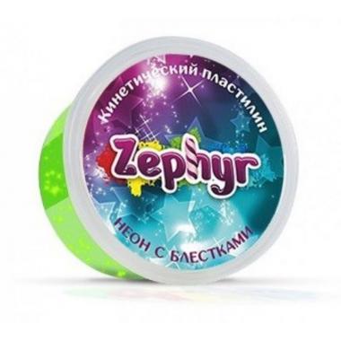 """Кинетический пластилин """"Zephyr"""" неоновый зеленый с блестками"""