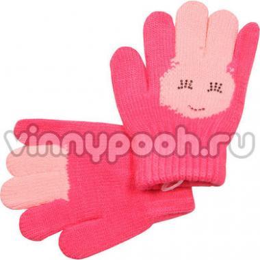 """Перчатки с орнаментом для девочки """"Зайчик"""" (розовый), 2-4 лет"""