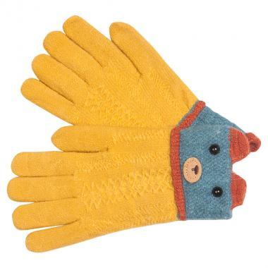 Перчатки разноцветные для девочки КОРОНА (горчица), 5-8 лет