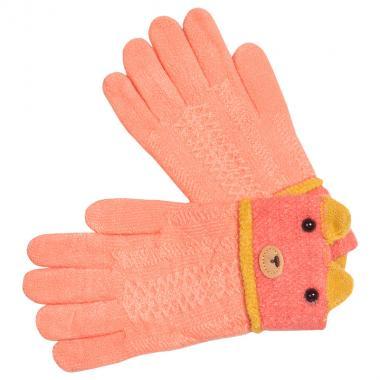 Перчатки разноцветные для девочки КОРОНА (персик), 5-8 лет
