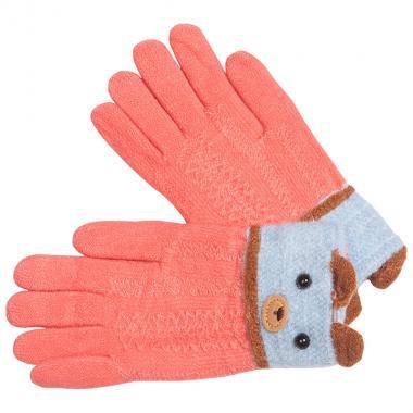 Перчатки разноцветные для девочки КОРОНА (коралл/серый), 5-8 лет