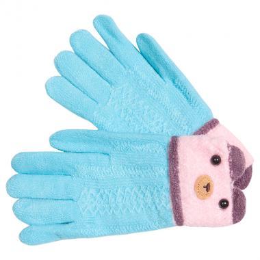 Перчатки разноцветные для девочки КОРОНА (голубой/розовый), 5-8 лет