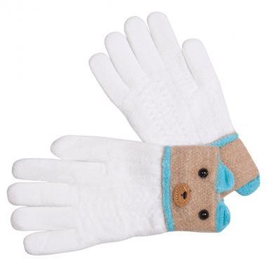 Перчатки разноцветные для девочки КОРОНА (белый/бежевый), 5-8 лет