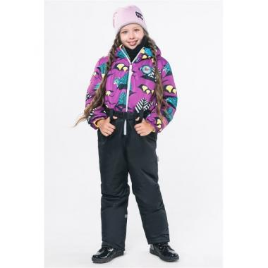 Демисезонный комбинезон Boom! by Orby для девочки (фиолетовый/черный), 1,5 года - 8 лет