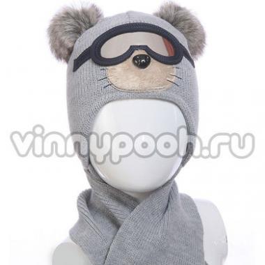 """Комплект для мальчика AMBRA с очками и шарфом """"Мишка""""(серый), 1,5-3 года"""