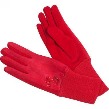 Перчатки на флисе Русская зима для девочки с рисунком (красный), 6-12 лет