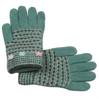 Перчатки с МАРИЯ с бусинками для девочки (бирюза), 7-10 лет