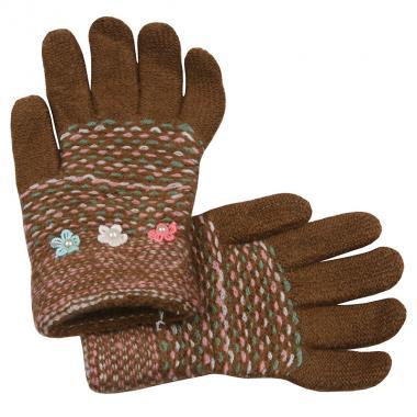 Перчатки с МАРИЯ с бусинками для девочки (кофе), 7-10 лет