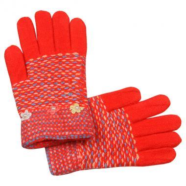 Перчатки с МАРИЯ с бусинками для девочки (коралл), 7-10 лет
