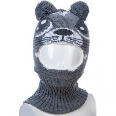 Шапка-шлем Kolad для девочки с рисунком КЭТИ (серая), 9мес-2 года