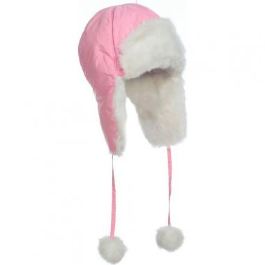 Меховая шапка для девочки МОЗАИКА (розовая), 6-9 лет