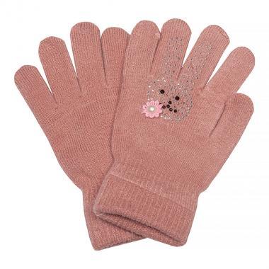 Зимние перчатки КОРОНА для девочки Зайка (грязно-розовый), 4-8 лет