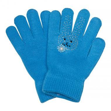 Зимние перчатки КОРОНА для девочки Зайка (бирюза), 4-8 лет