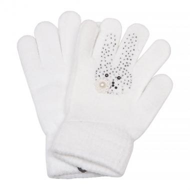 Зимние перчатки КОРОНА для девочки Зайка (молоко), 4-8 лет