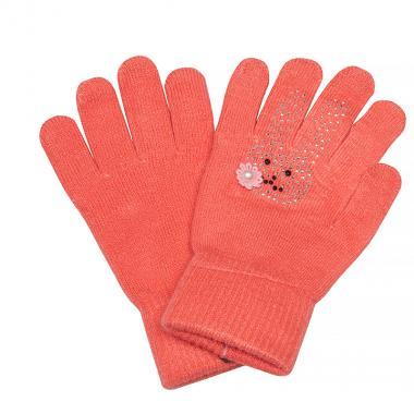 Зимние перчатки КОРОНА для девочки Зайка (персик), 4-8 лет