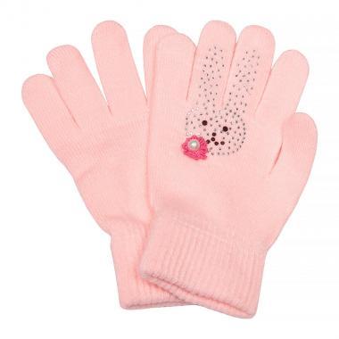 Зимние перчатки КОРОНА для девочки Зайка (бледно-розовый), 4-8 лет