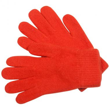 Шерстяные перчатки для девочки (оранжевый), 8-12 лет