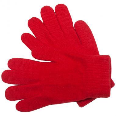 Шерстяные перчатки для девочки (алый), 8-12 лет
