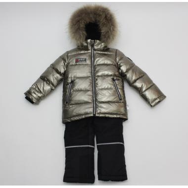 Зимний комплект Kiko для мальчика (графит/черный), 4-8 лет