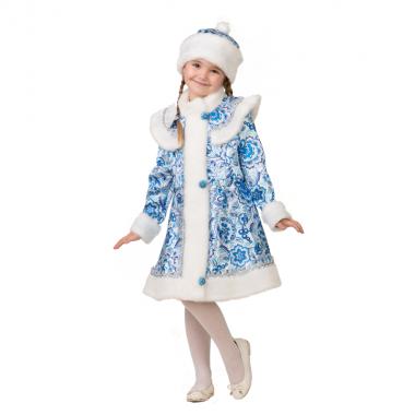 """Детский карнавальный костюм для девочки """"Снегурочка гжель"""", 5-11 лет"""
