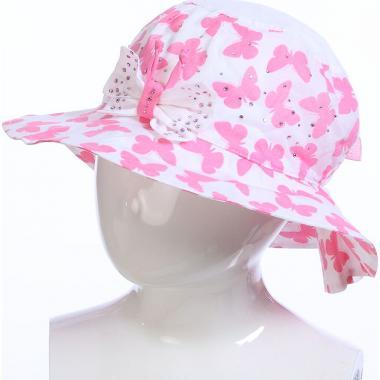 Летняя шляпа TuTu для девочки БАБОЧКИ (белый/розовый), 4-7 лет