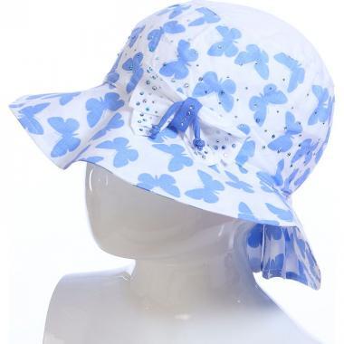 Летняя шляпа TuTu для девочки БАБОЧКИ (белый/голубой), 4-7 лет