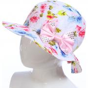 Летняя шляпа TuTu для девочки РОЗЫ (белый/бирюза), 5-8 лет